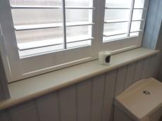 Bathroom shutters close view