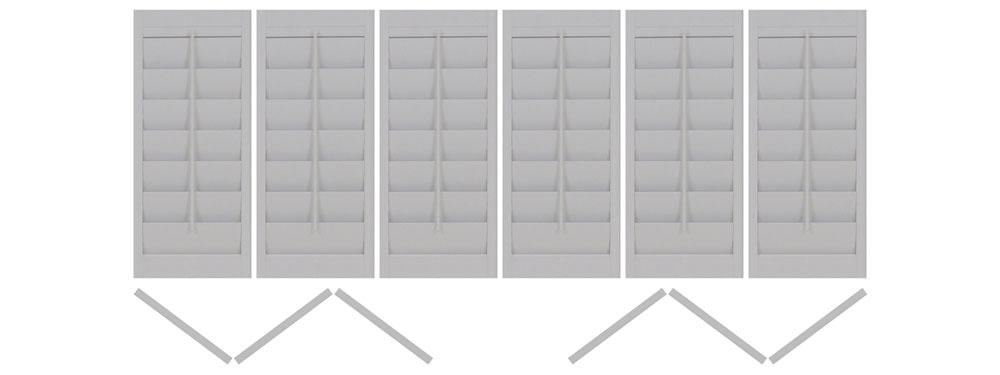 DIY vinyl shutter tri-folding 3 left 3 right