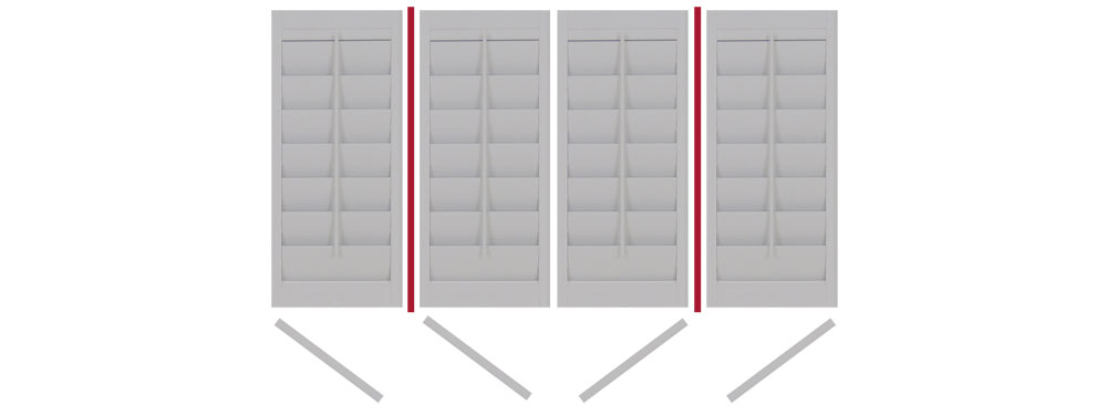 DIY shutters with 2 Tposts folding LTLRTR